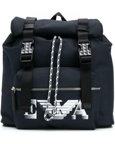 Синий рюкзак на шнурках с карманами Emporio Armani Kids