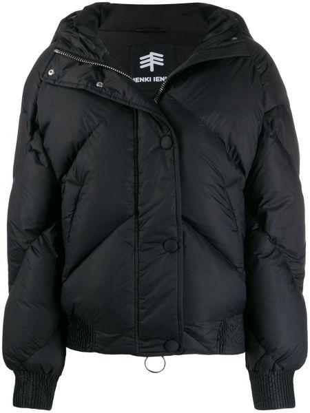 Пальто с капюшоном айвори в рубчик с перьями на молнии Ienki Ienki