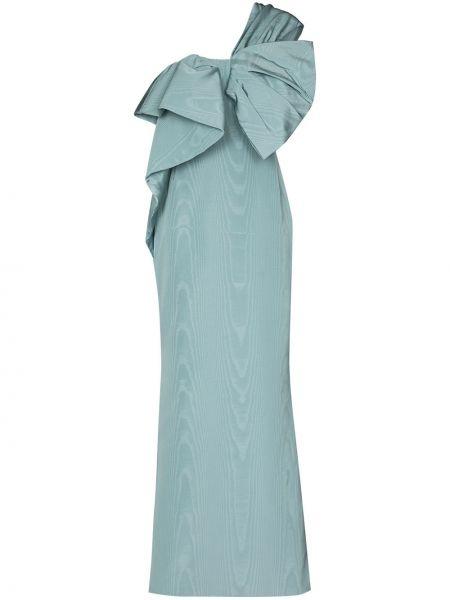 Шелковое облегающее платье на одно плечо с бантом без рукавов Oscar De La Renta