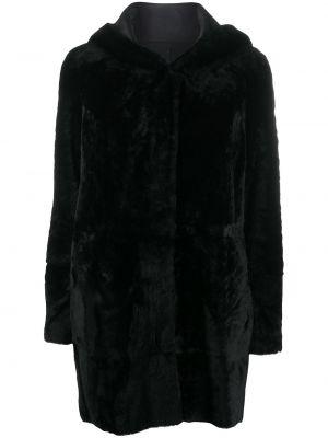 Пальто из овчины - черное Drome