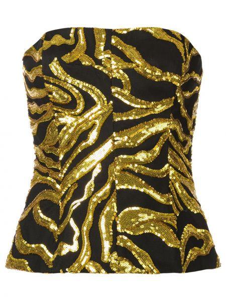 Złoty czarny crop top z haftem Halpern