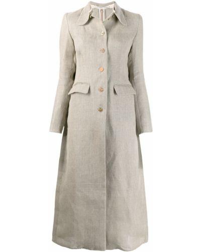 Серое пальто классическое с капюшоном с воротником Cherevichkiotvichki
