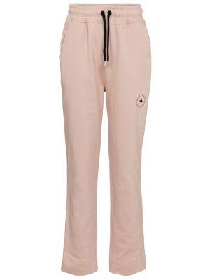 Różowe spodnie bawełniane Adidas By Stella Mccartney