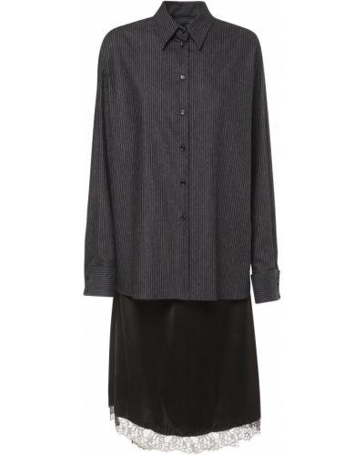 Платье миди с вышивкой в полоску Mm6 Maison Margiela