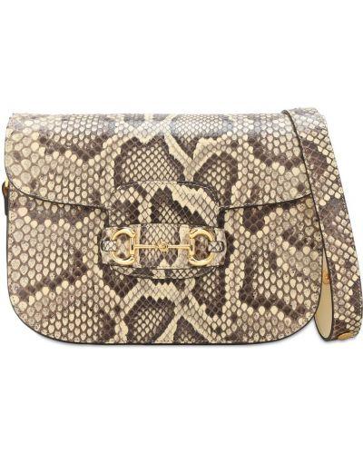 Skórzana torebka z prawdziwej skóry prążkowany Gucci