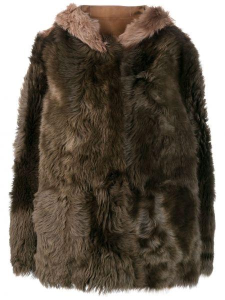 Зеленое кожаное длинное пальто с капюшоном Liska