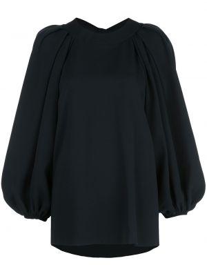 С рукавами шелковая черная блузка с вырезом Oscar De La Renta