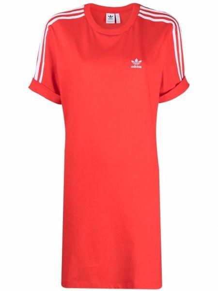 Хлопковое красное платье рубашка с нашивками Adidas