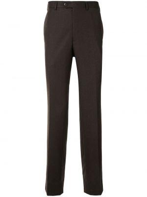 Brązowy wełniany spodni spodnie z kieszeniami Brioni