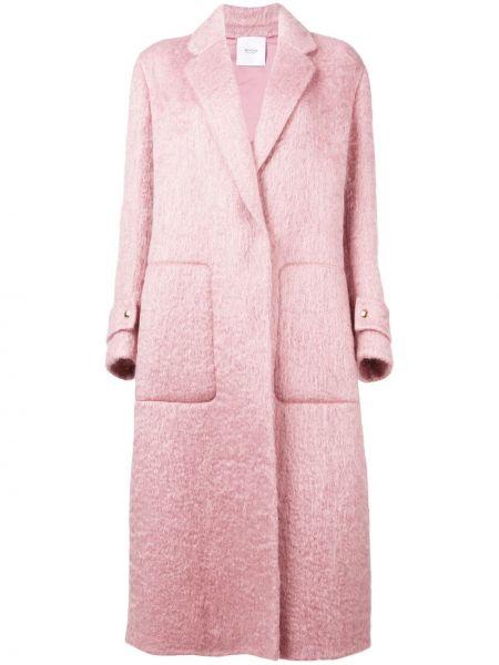 Розовое длинное пальто оверсайз с капюшоном Agnona