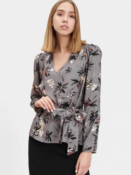 Блузка с длинным рукавом серая осенняя Bizzarro