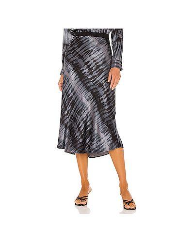 Сатиновая черная юбка с поясом Rails