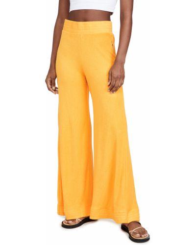 Żółte spodnie z wysokim stanem bawełniane Simon Miller