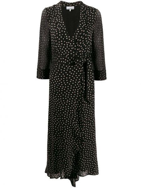 Платье в горошек с запахом Ganni