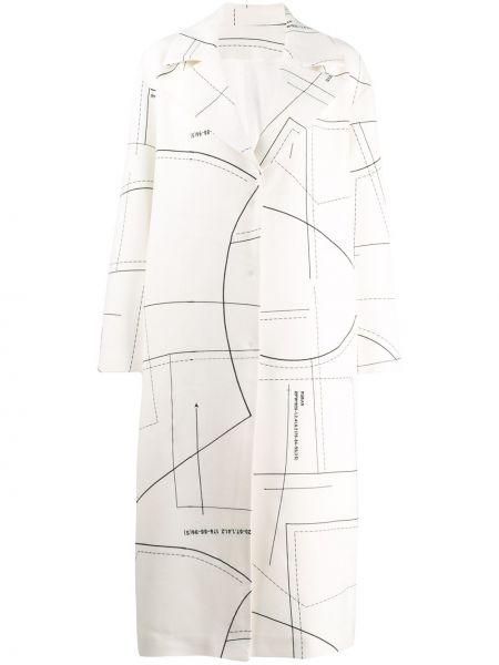 Коралловое шерстяное длинное пальто с воротником Ruban