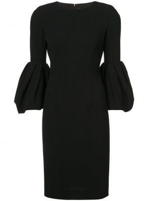 Черное шелковое платье с вырезом узкого кроя Carolina Herrera