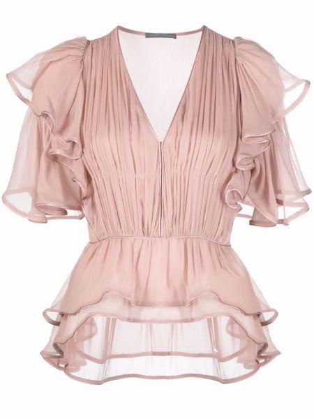 Розовая блузка с вырезом Alberta Ferretti