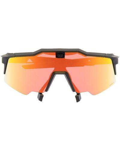 Czarne okulary z akrylu z printem 100% Eyewear