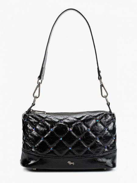 Черная кожаная сумка с перьями из натуральной кожи Labbra