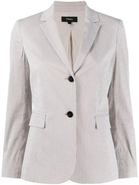 Приталенный удлиненный пиджак с карманами с воротником Theory