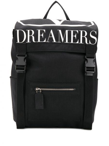 Czarny plecak klamry z nylonu Valentino