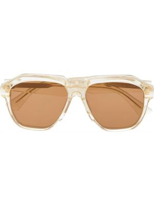 Złote żółte okulary Bottega Veneta Eyewear