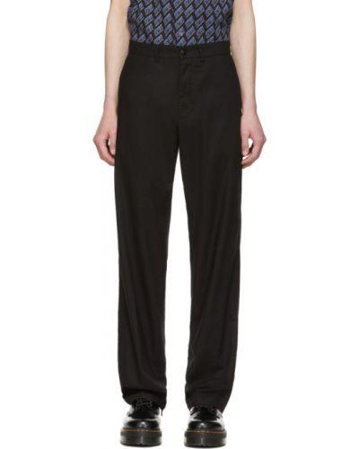 Czarne spodnie bawełniane z paskiem Mcq Alexander Mcqueen