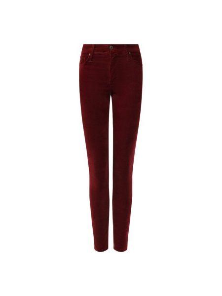 Облегающие хлопковые красные джинсы Ag