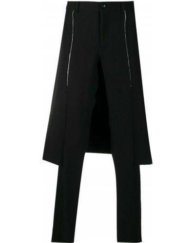 Czarny wełniany spodni spódnica z paskiem Comme Des Garcons Homme Plus