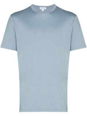 Хлопковая синяя базовая футболка Sunspel
