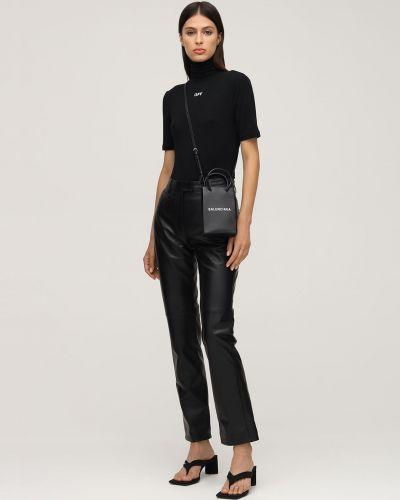 Skórzany czarny spodnie z paskiem Off-white