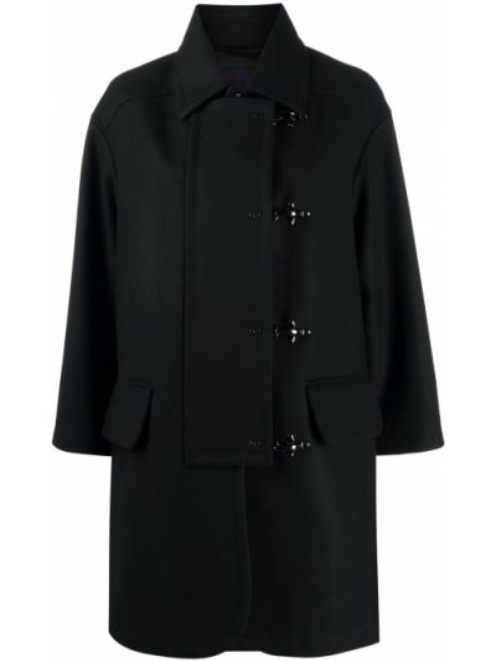Черное шерстяное пальто с воротником на крючках Fay