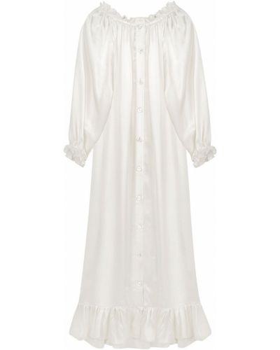 Biała sukienka midi z jedwabiu Sleeper