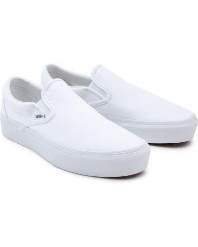Слипоны на платформе - белые Vans