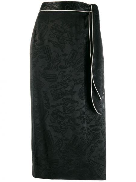 Черная юбка миди в рубчик Alexa Chung