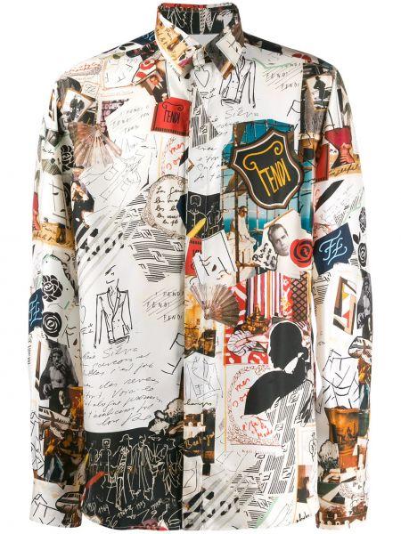 Koszula z długim rękawem klasyczna jedwab Fendi