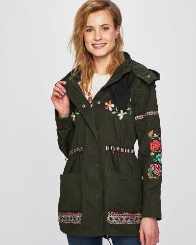 Куртка с капюшоном облегченная с вышивкой Desigual