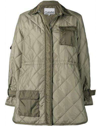 Приталенное пальто классическое с капюшоном с воротником Ganni