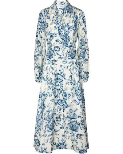 Ватное хлопковое синее платье миди Erdem