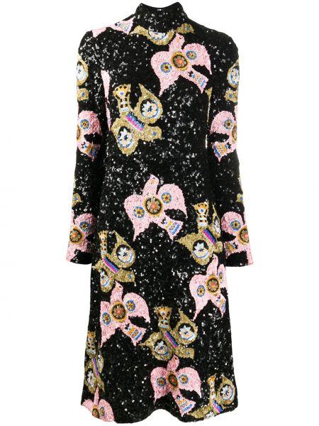 С рукавами черное платье макси с открытой спиной La Doublej