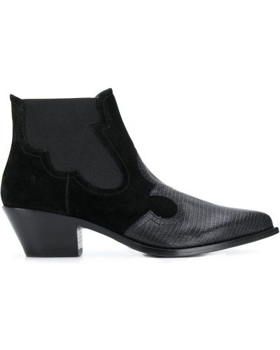 Черные сапоги без каблука с острым носом Paola D'arcano