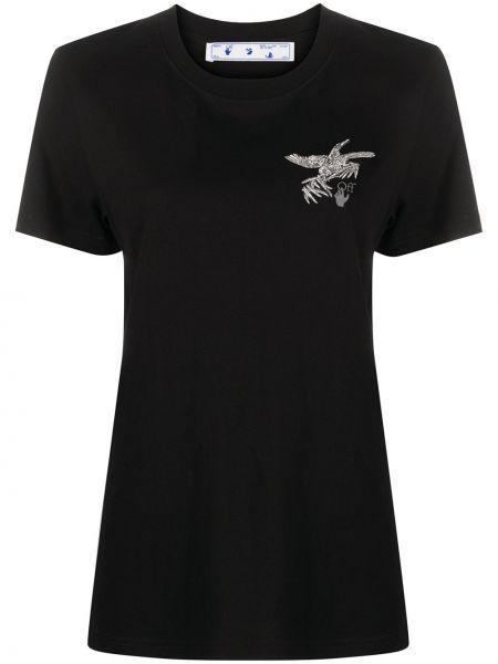 Bawełna czarny koszula z krótkim rękawem okrągły dekolt krótkie rękawy Off-white