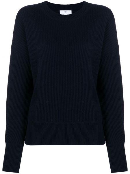 Кашемировый синий свитер в рубчик с круглым вырезом Allude
