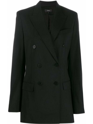 Длинная куртка черная на пуговицах Theory