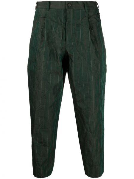 Zielone spodnie z wysokim stanem w paski Comme Des Garcons Homme Deux