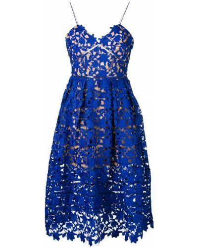 Синее платье с вышивкой Self-portrait