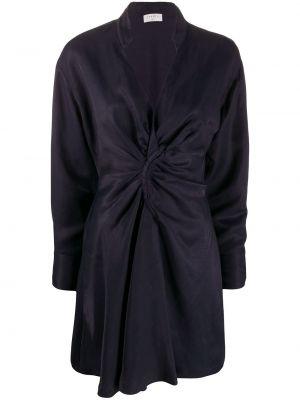Плиссированное платье мини на пуговицах с V-образным вырезом эластичное Sandro Paris