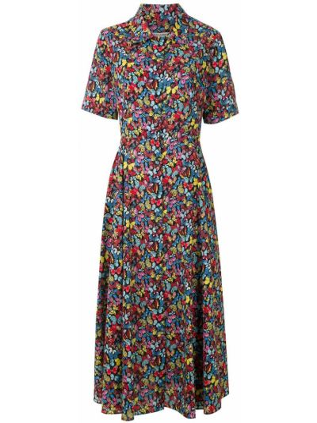 Платье мини короткое - синее Reinaldo Lourenço