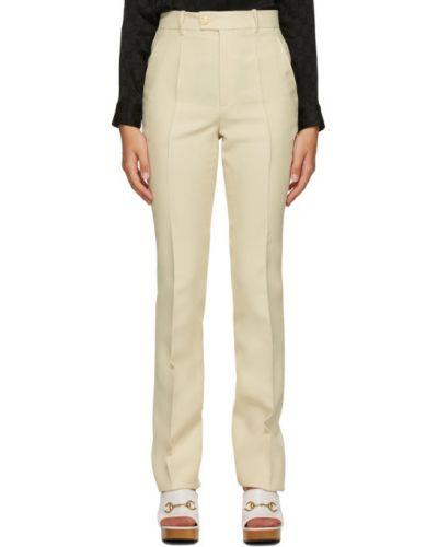 Spodni wełniany rozbłysnął spodnie z kieszeniami Gucci