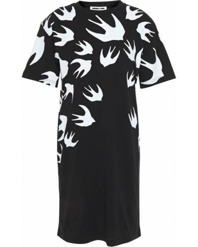 Ватное трикотажное черное платье мини Mcq Alexander Mcqueen